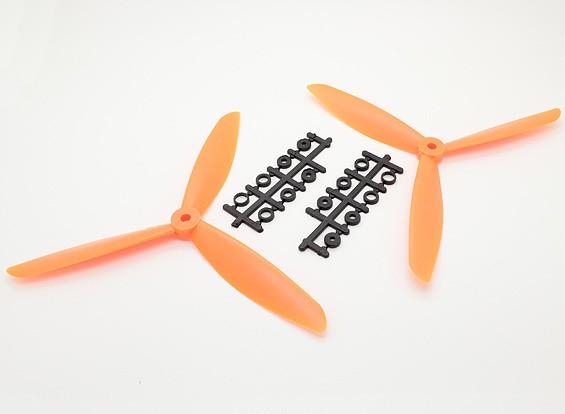 Hobbyking™ 3-Blade Propeller 8x4.5 Orange (CW/CCW) (2pcs)