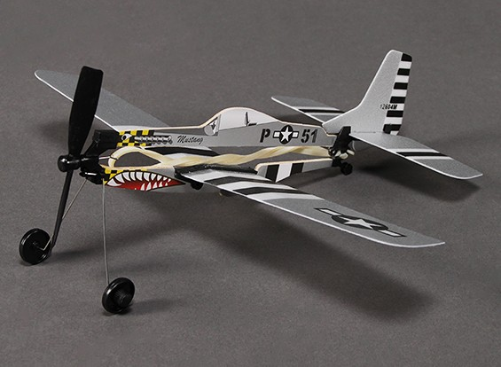 Rubber Band Powered Freeflight P-51 Mustang 288mm Span