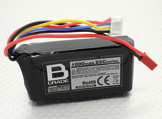 B-Grade 1000mAh 3S 25C Lipoly Battery