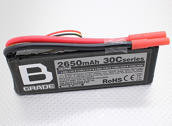 B-Grade 2650mAh 2S 30C Lipoly Battery