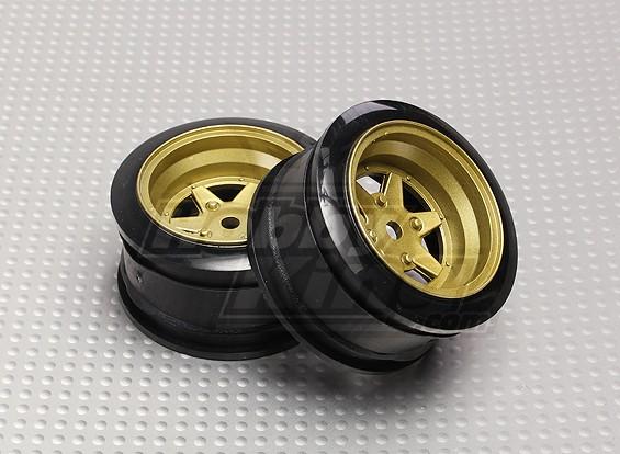 1:10 Scale Wheel Set (2pcs) Bronze 6-Spoke RC Car 26mm