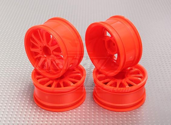 1:10 Scale Wheel Set (4pcs) Orange 14-Spoke RC Car 26mm