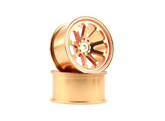 HobbyKing 1/10 Aluminum 9-Spoke Gold/Red Drift Wheel (2pcs)