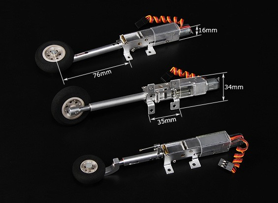 Turnigy 90 degree All Metal Tricycle Retract System w/Sprung Legs/Wheels (Models 2kg AUW Max)