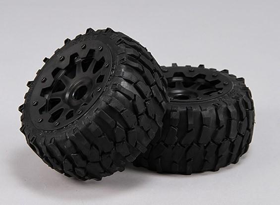 Rear Macadam Tires/Wheels Complete Set - 1/5 Baja 260 and 260S