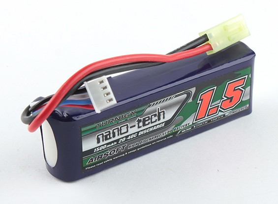 Turnigy nano-tech 1500mAh 3S 20-40C Lipo AIRSOFT Pack