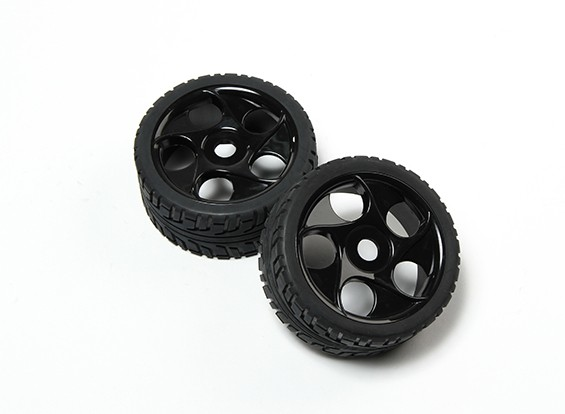 HobbyKing® 1/8 Star Spoke Black Wheel & On-road Tire 17mm Hex (2pc)