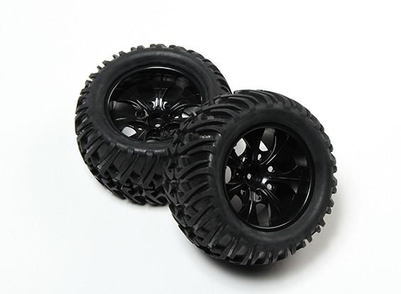 HobbyKing® 1/10 Monster Truck 7-Spoke Black Wheel & Chevron Pattern Tire 12mm Hex (2pc)