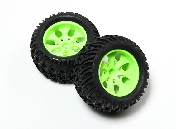 HobbyKing® 1/10 Monster Truck 7-Spoke Fluorescent Green Wheel & Chevron Pattern Tire (2pc)