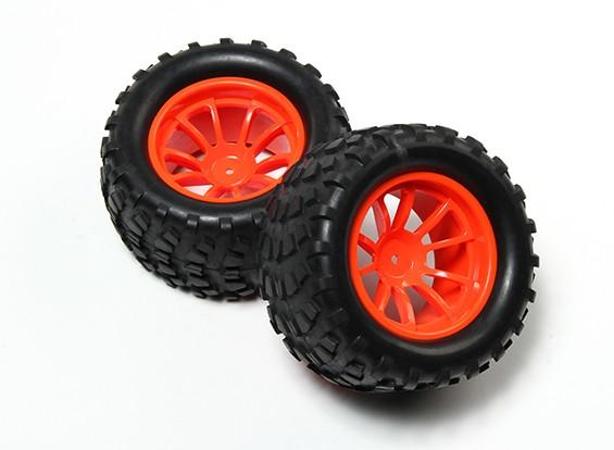 HobbyKing® 1/10 Monster Truck 10-Spoke Fluorescent Orange Wheel Block Pattern (2pc)