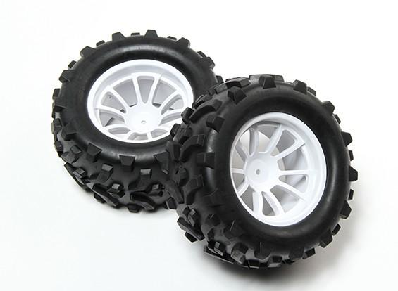 HobbyKing® 1/10 Monster Truck 10-Spoke White Wheel & Arrow Pattern Tire 12mm Hex (2pc)