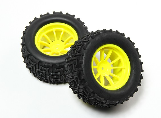 HobbyKing® 1/10 Monster Truck 10-Spoke Fluorescent Yellow Wheel & I-Pattern Tire 12mm Hex (2pc)