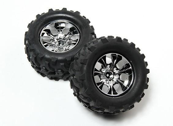 HobbyKing® 1/10 Monster Truck 7-Spoke Chrome Wheel & Arrow Pattern Tire 12mm Hex (2pc)