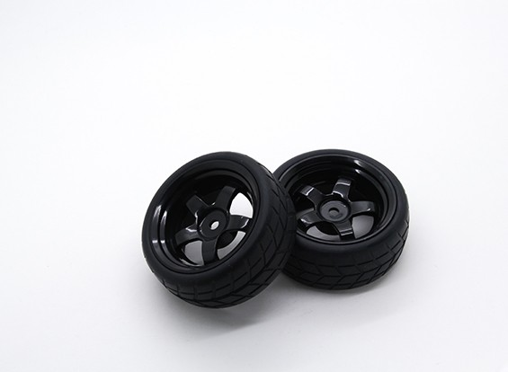 HobbyKing 1/10 Wheel/Tire Set VTC 5 Spoke Rear (Black) RC Car 26mm (2pcs)