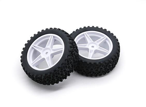 HobbyKing 1/10 Small Block 5-Spoke (White) Wheel/Tire 12mm Hex (2pcs/Bag)