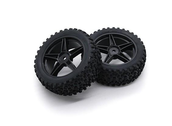 HobbyKing 1/10 Small Block 5-Spoke (Black) Wheel/Tire 12mm Hex (2pcs/Bag)
