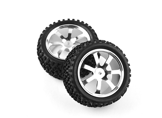 HobbyKing 1/10 Aluminum 7-Spoke Rear (Silver) Wheel/ Big Block Tire 12mm Hex (2pcs/bag)