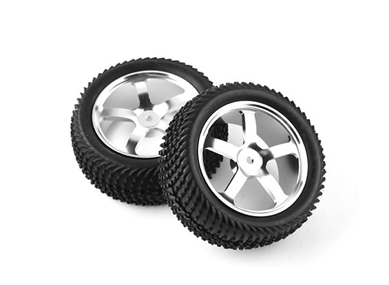 HobbyKing 1/10 Aluminum 5-Spoke Front (Silver) Wheel/ Wave Tire 12mm Hex (2pcs/bag)