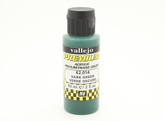 Vallejo Premium Color Acrylic Paint - Dark Green (60ml) 62.014