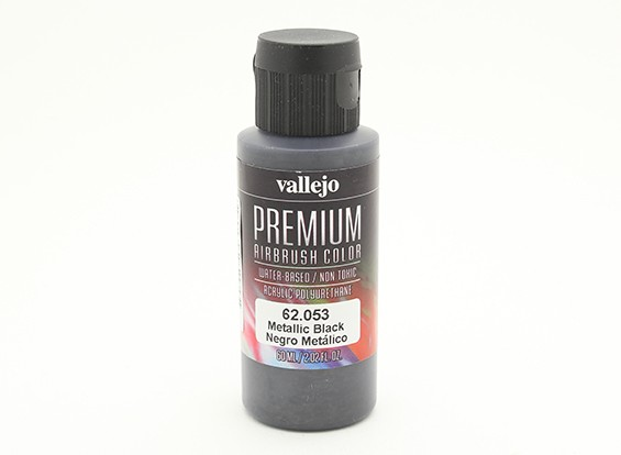 Vallejo Premium Color Acrylic Paint - Metallic Black (60ml) 62.053