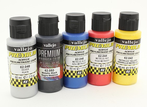 Vallejo Premium Color Acrylic Paint - Metallic Color Selection (5 x 60ml)