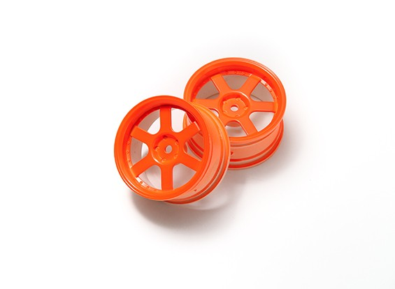 1:10 Rally Wheel 6-Spoke Neon Orange (3mm Offset)