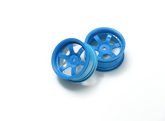 1:10 Rally Wheel 6-Spoke Fluorescent Blue (6mm Offset)