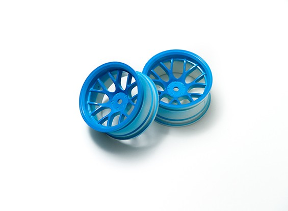 1:10 Wheel Set 'Y' 7-Spoke Fluorescent Blue (9mm Offset)