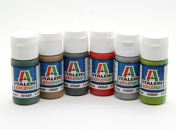 Italeri Acrylic Paint Set (Flat) - M.T.B. And Ships (6pc)