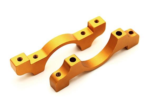 Gold Anodized CNC Aluminum Tube Clamp 22mm Diameter