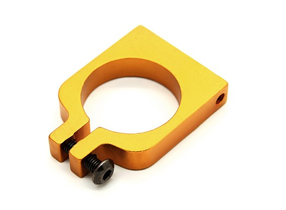 Gold Anodized Single Sided CNC Aluminum Tube Clamp 20mm Diameter