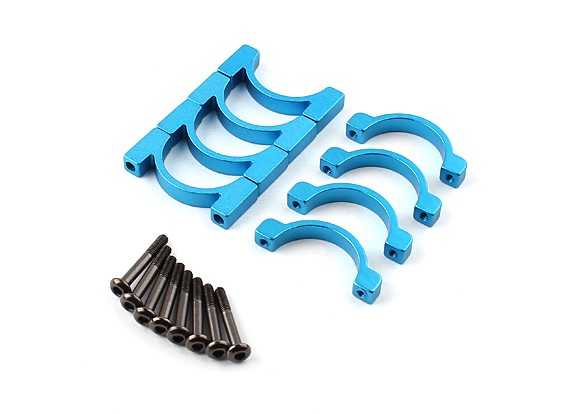 Blue Anodized Double Sided CNC Aluminum Tube Clamp 20mm Diameter