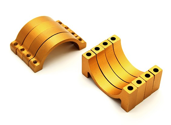 Gold Anodized CNC Aluminum 6mm Tube Clamp 25mm Diameter (Set of 4)