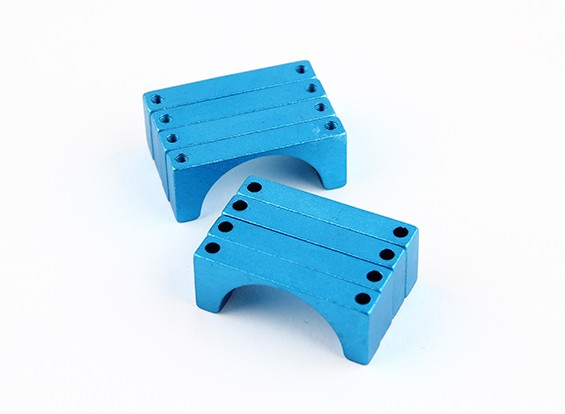 Blue Anodized Double Sided CNC Aluminum Tube Clamp 25mm Diameter