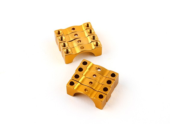 Gold Anodized Double Sided CNC Aluminum Tube Clamp 12mm Diameter
