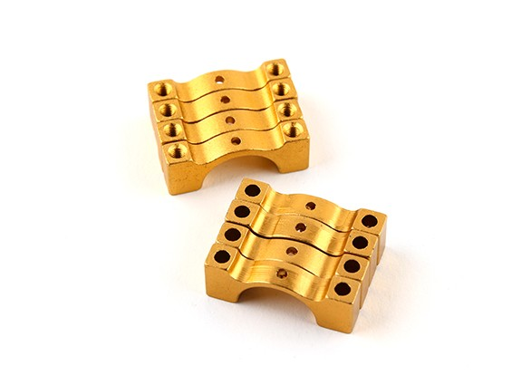Gold Anodized Double Sided CNC Aluminum Tube Clamp 14mm Diameter