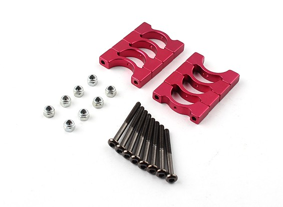Red Anodized CNC Super Light Alloy Tube Clamp 14mm Diameter (4set)