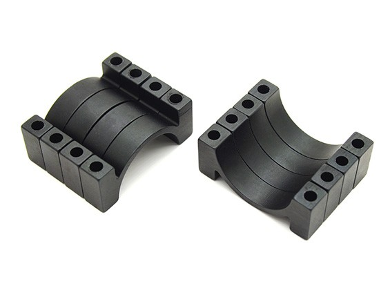 Black Anodized CNC Semicircle Alloy Tube Clamp (incl. nuts & bolts) 20mm