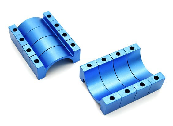 Blue Anodized CNC 10mm Aluminum Tube Clamp 22mm Diameter
