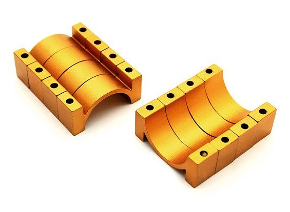 Gold Anodized CNC 10mm Aluminum Tube Clamp 25mm Diameter