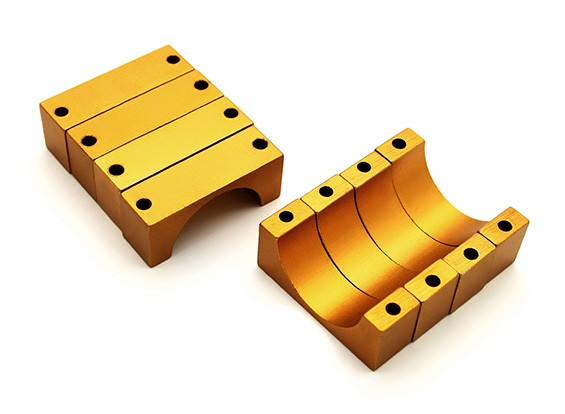 Gold Anodized CNC 10mm Aluminum Tube Clamp 20mm Diameter