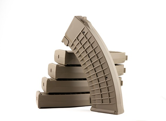 King Arms 110rounds Polish type magazines for Marui AK AEG (Dark Earth, 5pcs/ box)