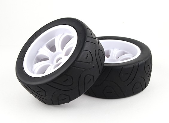 1/8 On-Road Truggy LPR White Tire Set 17mm Hex (2pcs)