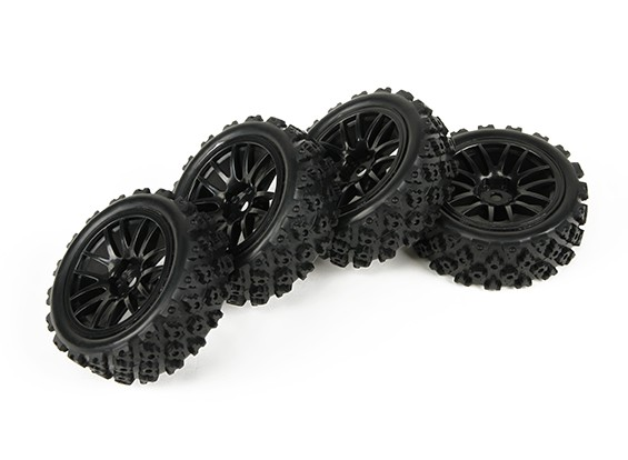 HobbyKing 1/10 Twin 7-Spoke Black Wheel w/ Pre-Glued Rally Tires Set (4pcs)