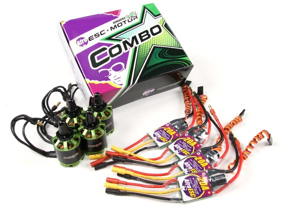 MultiStar & Afro Combo Pack - 2216-800KV and Matched 20A Afro ESC Set of 4 CW/CCW