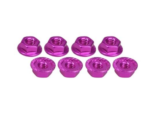 4mm Aluminum Pink Locknut Serrated (8pcs) - 3Racing SAKURA FF 2014