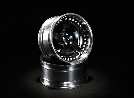 HobbyKing 1/10 Adjustable Offset Aluminum Drift Wheel - Black/Polished (2pcs)