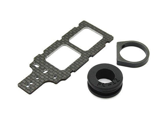 Carbon FPV Transmitter Mount with Rubber Damper Suits 12mm Booms