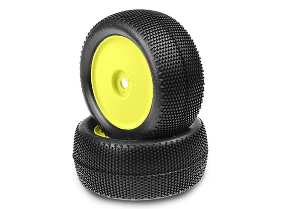 JCONCEPTS Hybrids 1/8th Truck Pre-Mount Tires - Green (Super Soft) Compound (Yellow)