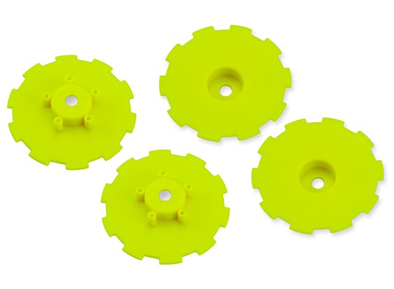 JCONCEPTS Hazard SC10 / SC10 4x4 Wheel Dish - Yellow - 4pc